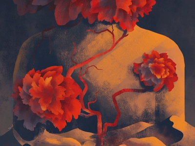 Desert flower man sun sunset life illustration roots blood pressure blood vessels bloom body human statue red plant flower desert