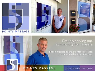 5 Points Massage Branding Usage typography design signage flat logo branding