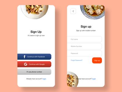 Signup Food App