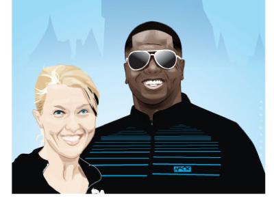 Mike & Jenna portrait art vector illustration