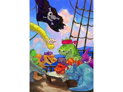 Wild painting digital art parrish kirk illustrator illustration scbwi pirate pirates treasure dinosaurs wild