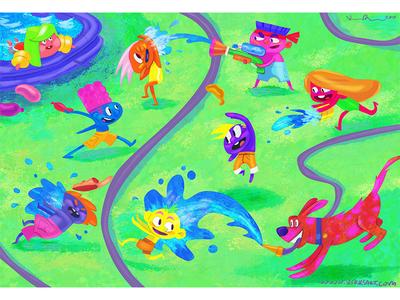 Splash summer childrens books scbwi digital art kidlitart character design cartoon animation illustration artist kidlit