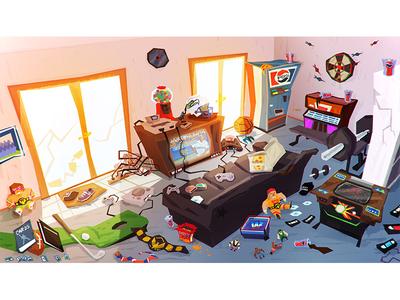 Game Room video games concept scbwi digital art background art character design cartoon animation illustration artist kidlit