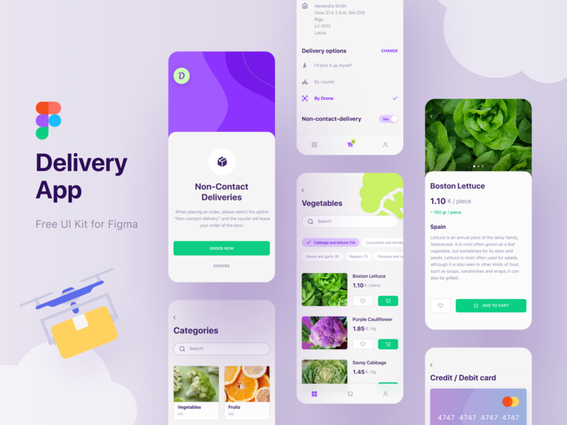 Free UI Kit   Delivery App non-contact-delivery drone development android ios figma green violet switch options payment chips clean uiux cards ui kit iphone e-commerce e-shop delivery app