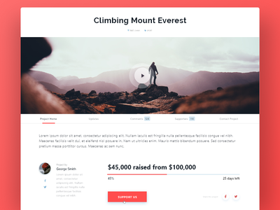 Daily UI #032 Crowdfunding campaign adobe xd daily ui day 032 crowdfunding campaign dailyui