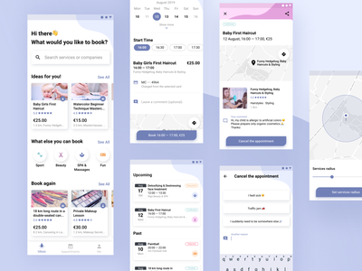 Booking App productdesign cards blue pink figma material design android booking