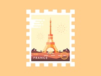 Stamp France Eiffel Tower