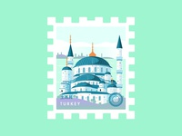 Stamp Turkey Blue Mosque
