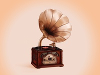 Old-fashioned phonograph/gramophone illustration