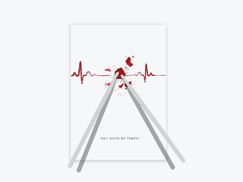 Minimal movie posters #4 - Whiplash blood drums tempo drumsticks whiplash poster movie minimal