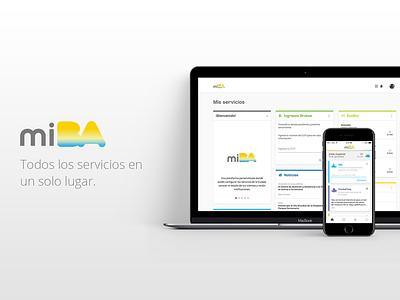 """""""MiBA"""" - Web & App layout home buenosaires ciudad servicios cards ui ux diseño design web app"""