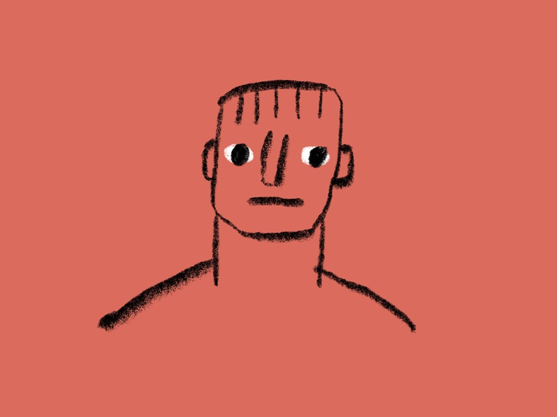 Block Head face line art pencil portrait man bangs block person head bust