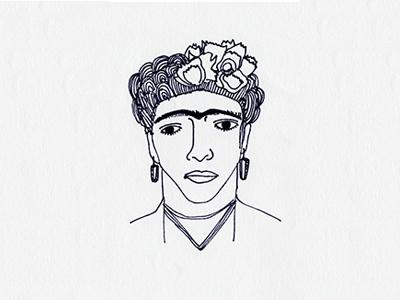 Frida Kahlo artist frida kahlo frida black and white portrait sketch famous people illustration line art sharpie