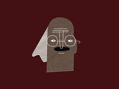 Wilson wrinkles glasses mustache face portrait character design character