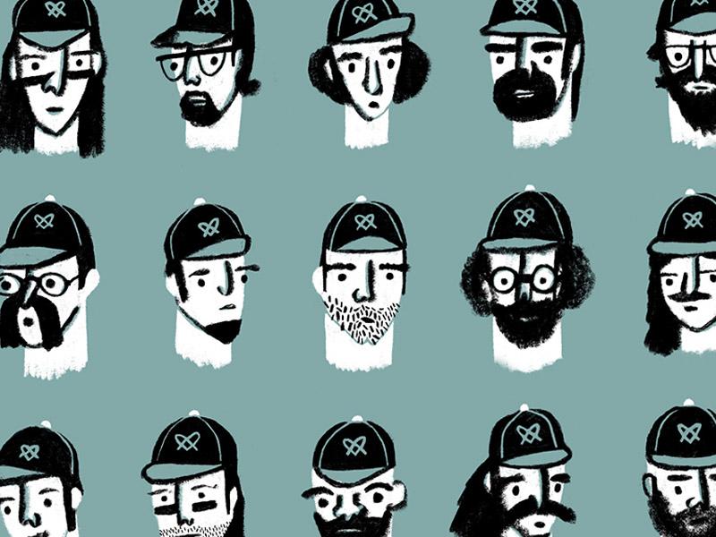 The Pretzels heads portraits beards squad teammates roster sports team baseball hat hat baseball