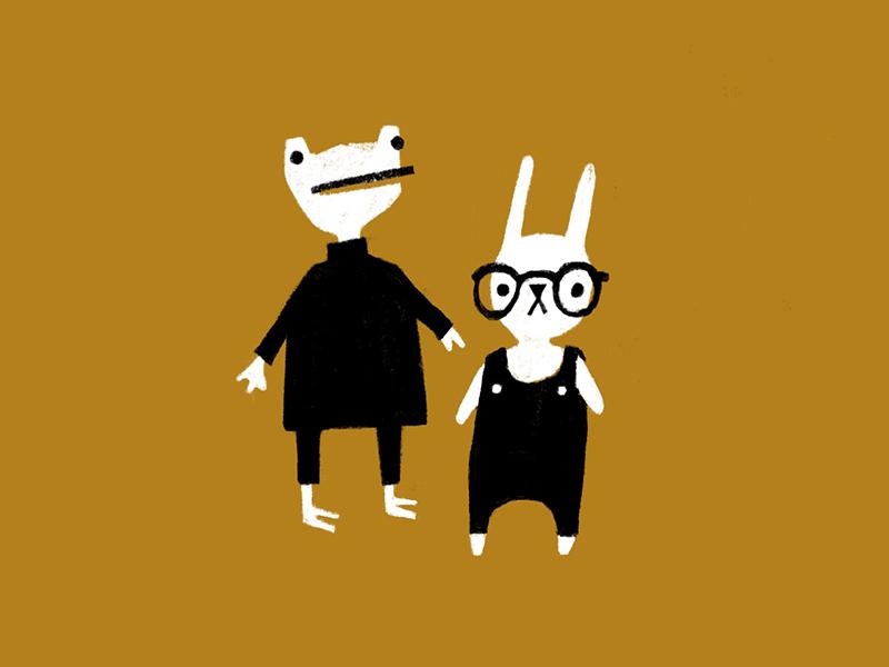 Pals character design illustration amphibian turtleneck overalls glasses animals rabbit frog bunny buddies pals friends