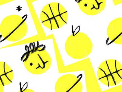 Circles geometric pattern yellow dots planet basketball face fruit collage circles