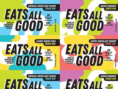 Eats All Good food packaging branding colorful italics packaging design packaging collage snack bar granola bar label design labels identity snacks