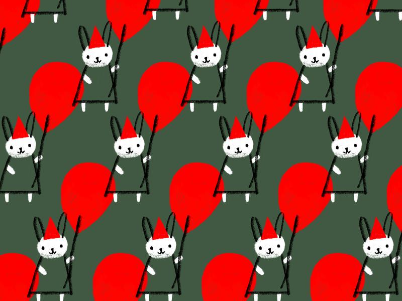 Party Bun hat festive triangle teardrop animal dress rabbit bunny red party celebration balloon pattern