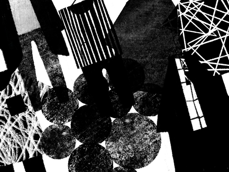 Textures greyscale grey geometric bold lines circles overlap collage shapes black and white white black textures