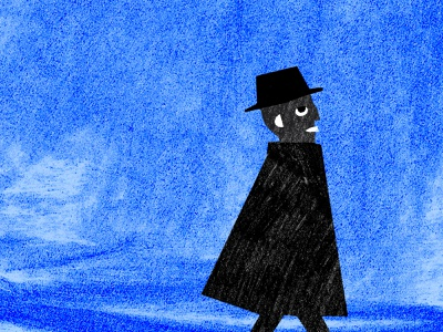 Walking charcoal collage blue sky coat hat shapes texture silhouette blue profile man walking