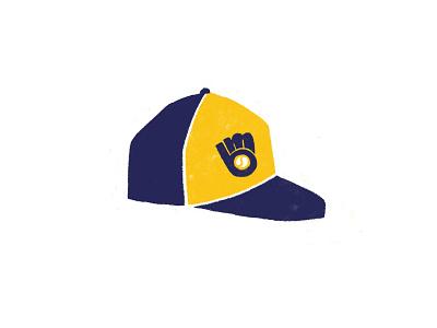 Brewers illustration throwback glove hat sports baseball hat baseball mlb milwaukee brewers wisconsin milwaukee