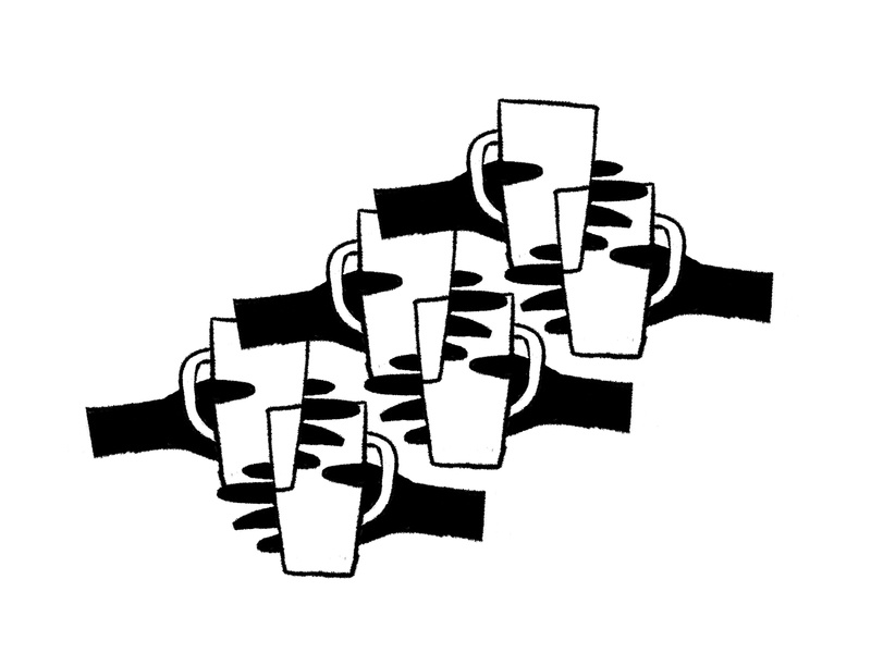 Cheers shapes celebration pattern black and white clink cups mugs glasses arms hands cheers toast
