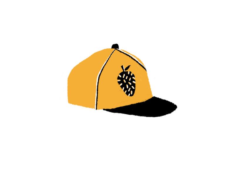 Hairy Berry baseball hat sports black gold illustration drawing fruit hairy berry strawberry hat cap baseball