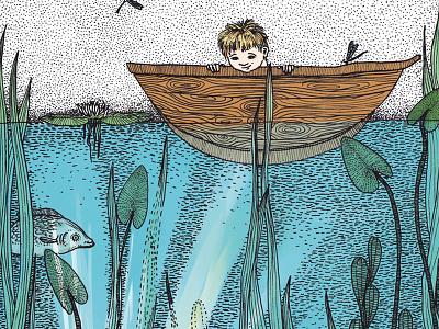 book illustration children illustration nature plants fish children illustration water lake boy boat