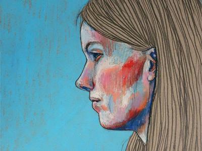 autoportrait oil pastels hair face red blue illustration drawing pencil pastels autoportrait portrait girl