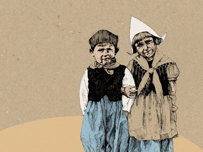 childhood fineliners drawing siblings blue retro old illustration children