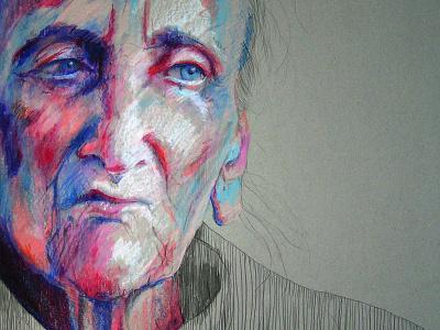 Bronisława pencils pencil beauty eyes face portrait art drawing cardboard pastels old woman
