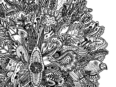 welcome in the forest art fineliner drawing animals birds bird floral plants