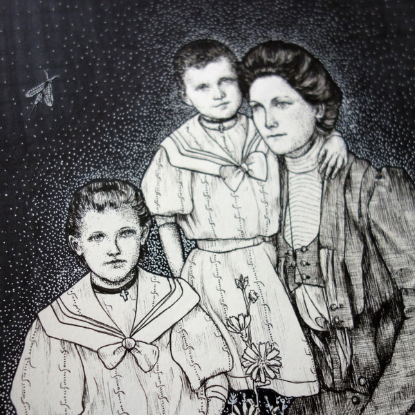 Old days night retro black  white girl portrait woman family flowers plants art floral fineliner children illustration drawing