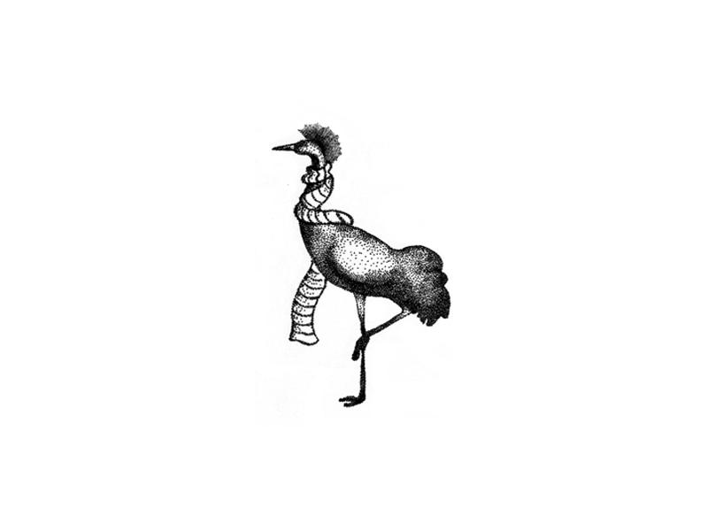 Kraanvogel handmade vintage hipster logo animal sketch traditional illustration pointillize pointillism kraanvogel bird
