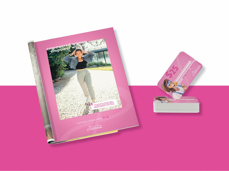 Jolly Pink Footwear Ad and Gift Card gift card print ad layout print