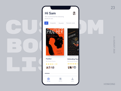 Custom Your Book List read filter animation ux book