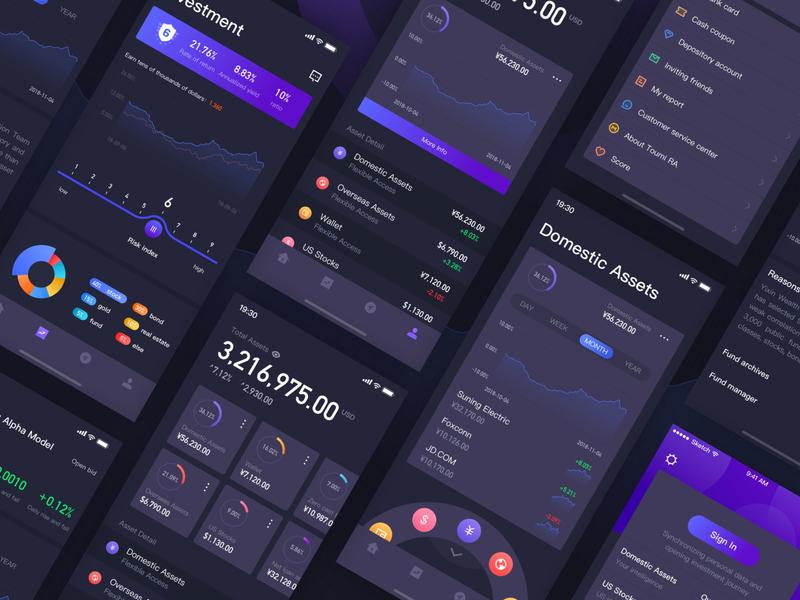 Financial app ui. dark data visualization
