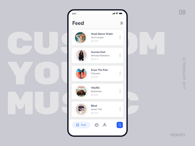 Customize Your Music ux animation ux-ui blue feed animation list music app