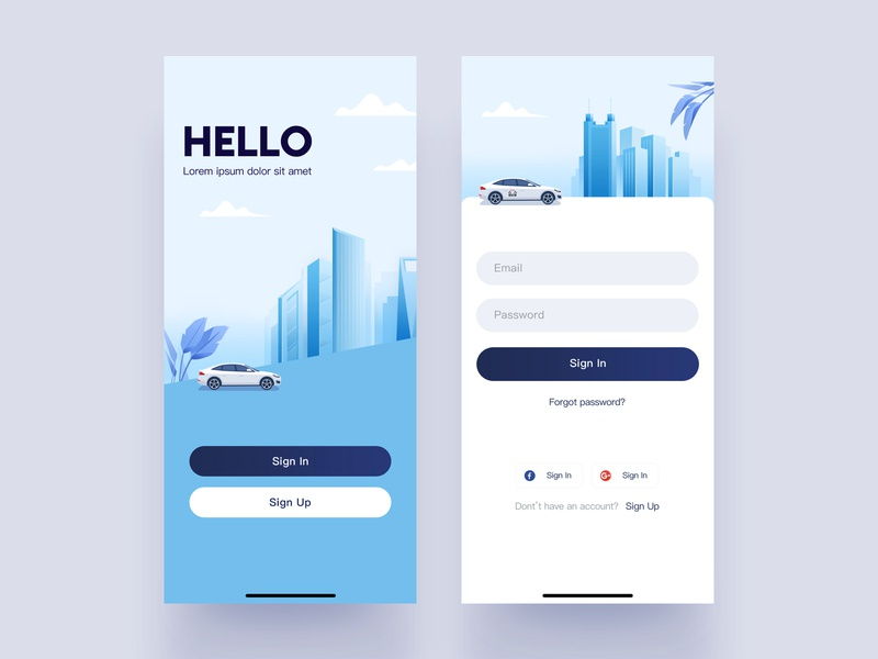 Sign in UI architecture city car illustration blue app ui