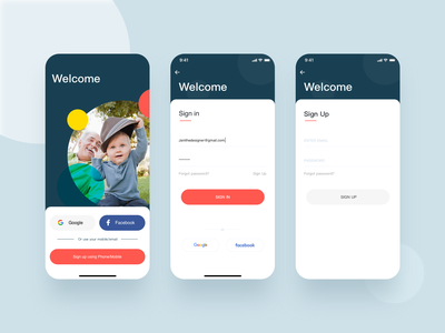 Sign in/up  App. colors welcome kit mobile ui signup sign in app
