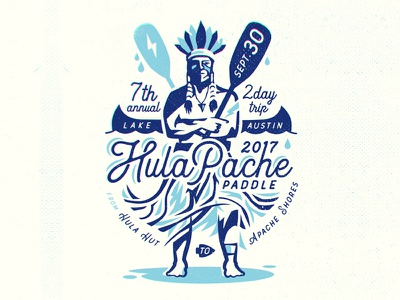 Hulapache Paddle race sports canoe kayak hawaii hula logo t-shirt paddle event native illustration
