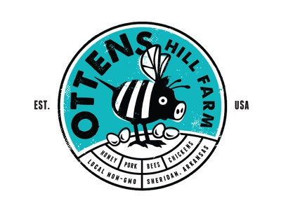 Ottens Hill Farm texture shirt logo branding funny pork pig honey eggs chicken bee farm
