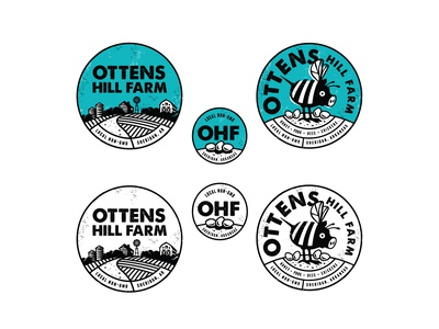 OHF labels labels stickers branding quirky mascot illustrator logo local honey eggs bee pig non-gmo farm