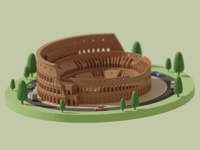 Rome Colosseum colosseum rome animation cycle blender render lowpoly illustration modeling 3d illustration 3d