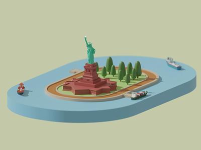 Statue of Liberty blender statue of liberty new york animation render lowpoly illustration modeling 3d illustration 3d