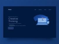 Blue Header Exploration eye pleasing minimal typography illustration creative design website design header ui design design ui ux
