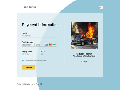 Daily Ui Challenge Day #002 - Credit Card Checkout payment music credit card challenge ui web dailyui