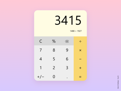 Daily Ui Challenge Day 04 - Calculator