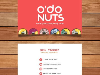 Odonuts. Donut shop stationary sample